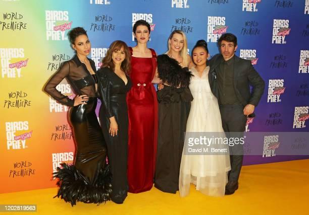 "Jurnee Smollett-Bell, Rosie Perez, Mary Elizabeth Winstead, Margot Robbie, Ella Jay Basco and Chris Messina attend the World Premiere of ""Birds Of..."