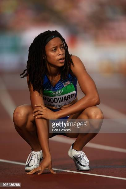 Jurnee Woodward of The USA reacts following heat 2 of the women's 400m hurdles semi final on day three of The IAAF World U20 Championships on July 12...