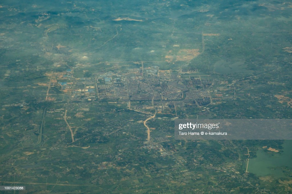 Jurong of Zhenjiang city in Jiangsu Province in China daytime aerial view from airplane : Stock-Foto