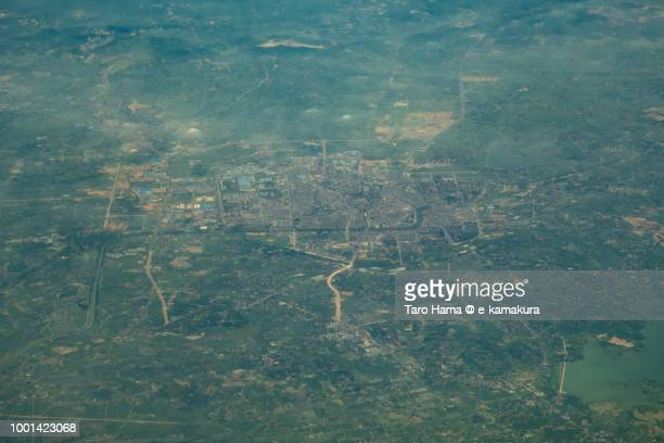 Jurong of Zhenjiang city in Jiangsu Province in China daytime aerial view from airplane