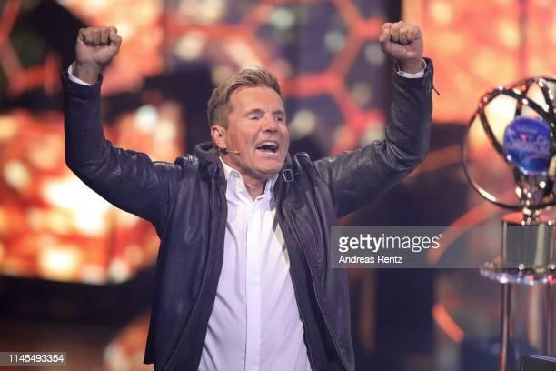 Juror Dieter Bohlen reacts during the season 16 finals of the tv competition show Deutschland sucht den Superstar at Coloneum on April 27 2019 in...
