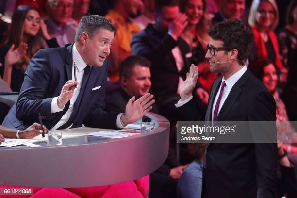 Juror Joachim Llambi discusses with Host Daniel Hartwich after the performance of Anni FriesingerPostma and Erich Klann on stage during the 3rd show...