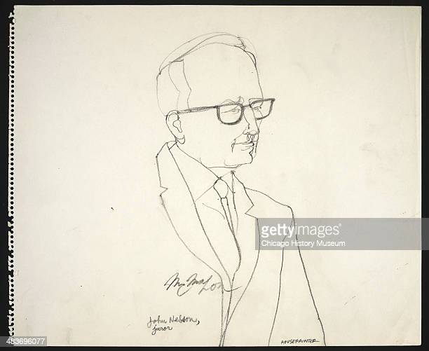 Juror John Nelson in a courtroom illustration during the trial of the Chicago Eight Chicago Illinois late 1969 or early 1970 The Eight or Seven as...