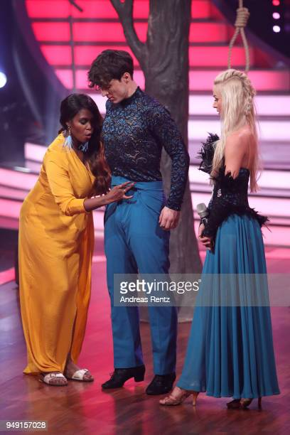 Juror Motsi Mabuse instructs Roman Lochman and Katja Kalugina on stage during the 5th show of the 11th season of the television competition 'Let's...