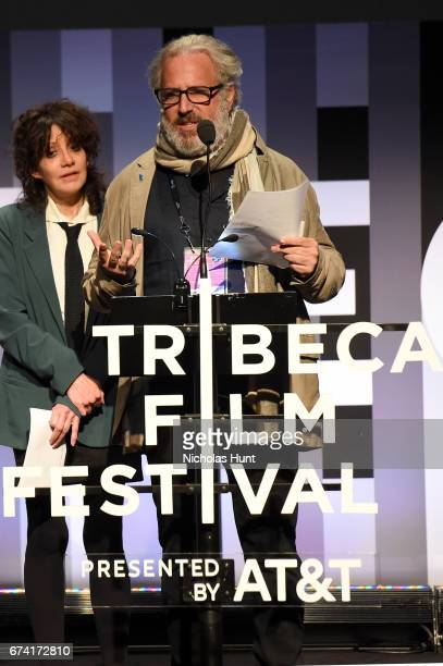 Jurors Amy Heckerling and Udi Aloni present the award for Best Animated Short during Awards Night during the 2017 Tribeca Film Festival at BMCC...