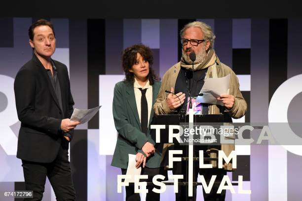Jurors Brennan Brown Amy Heckerling and Udi Aloni present the award for Best Animated Short during Awards Night during the 2017 Tribeca Film Festival...