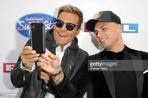 Jurors Dieter Bohlen and Pietro Lombardi take a selfie as they attend the season 16 finals of the tv competition show Deutschland sucht den Superstar...