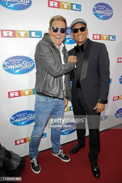 Jurors Dieter Bohlen and Xavier Naidoo attend the season 16 finals of the tv competition show Deutschland sucht den Superstar at Coloneum on April 27...