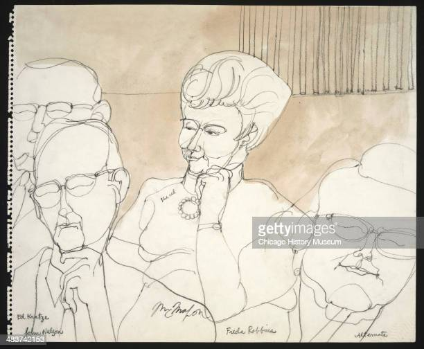 Jurors Ed Kratzke John Nelson Frida Robbins and an alternate juror in a courtroom illustration during the trial of the Chicago Eight Chicago Illinois...