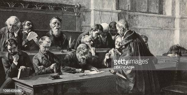 Jurors, engraving by F Cantagalli from a painting by Giuseppe Bottero , from L'Illustrazione Italiana, year 18, no 20, May 17, 1891.