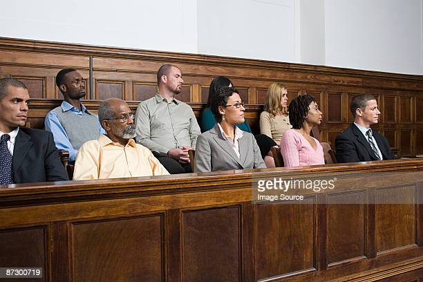 jurors in the jury box - courtroom stock pictures, royalty-free photos & images