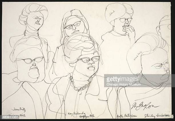 Jurors Jean Fritz Miriam Hill Kay Richards Evelyn Hill Ruth Peterson and Shirley Seaholm in a courtroom illustration during the trial of the Chicago...