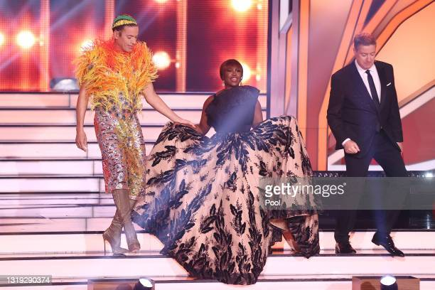 Jurors Jorge Gonzalez, Motsi Mabuse and Joachim Llambi are seen arriving on stage during the 11th show of the 14th season of the television...