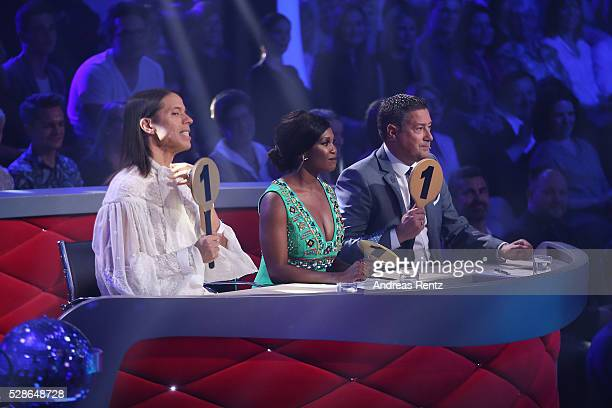 Jurors Jorge Gonzalez Motsi Mabuse and Joachim Llambi seen on stage during the 8th show of the television competition 'Let's Dance' on May 6 2016 in...