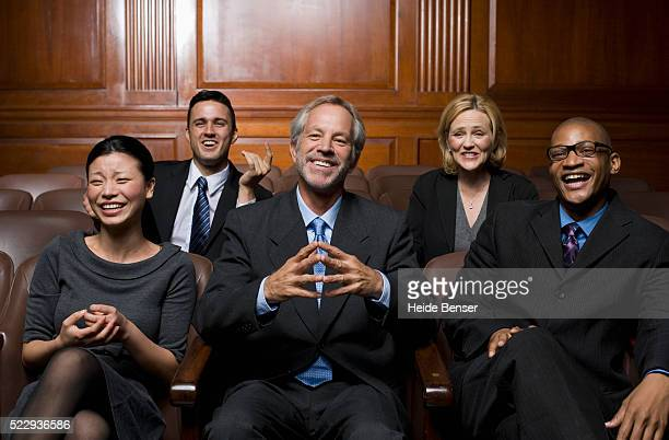 jurors laughing - jury box stock pictures, royalty-free photos & images