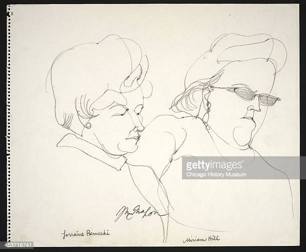 Jurors Lorraine Bernecki and Miriam Hill in a courtroom illustration during the trial of the Chicago Eight Chicago Illinois late 1969 or early 1970...