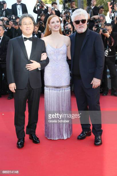 Jurors Park Chanwook Jessica Chastain and President of the jury Pedro Almodovar attend the Okja screening during the 70th annual Cannes Film Festival...