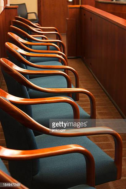 juror's row in a court room. - juror law stock pictures, royalty-free photos & images