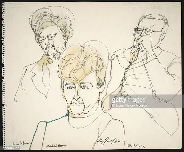 Jurors Ruth Peterson Mildred Burns and Ed Kratzke in a courtroom illustration during the trial of the Chicago Eight Chicago Illinois late 1969 or...