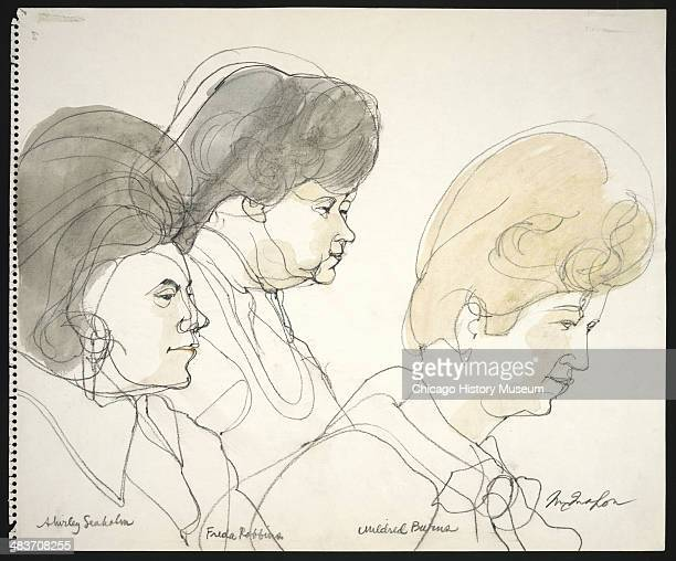 Jurors Shirley Seaholm Frida Robbins and Mildred Burns in a courtroom illustration during the trial of the Chicago Eight Chicago Illinois late 1969...