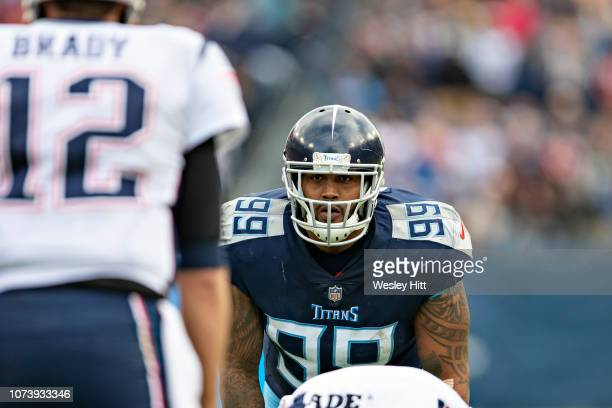 Jurrell Casey of the Tennessee Titans at the line of scrimmage during a game against the New England Patriots at Nissan Stadium on November 11, 2018...