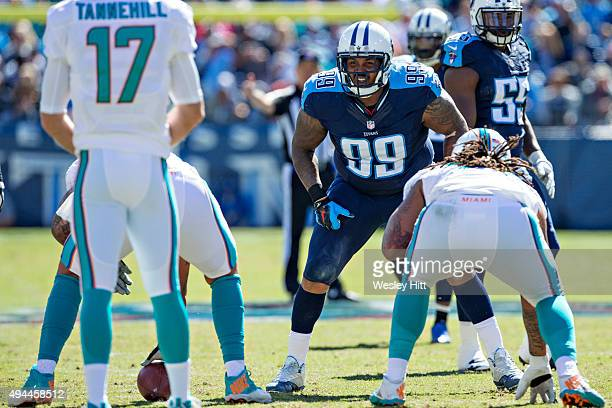 Jurrell Casey of the Tennessee Titans at the line of scrimmage during a game against the Miami Dolphins at LP Field on October 18, 2015 in Nashville,...
