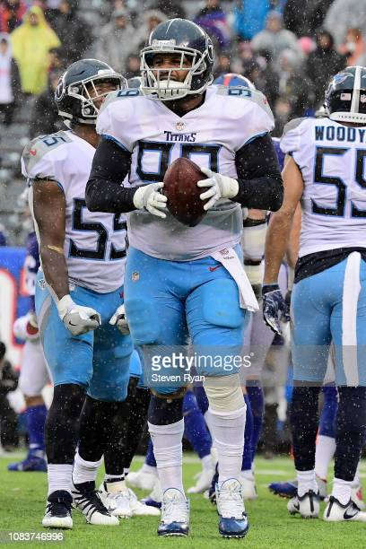 Jurrell Casey of the Tennessee Titans celebrates after recovering a fumble against the New York Giants at MetLife Stadium on December 16, 2018 in...