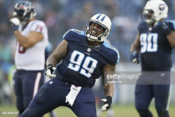 Jurrell Casey of the Tennessee Titans celebrates after sacking Brock Osweiler of the Houston Texans at Nissan Stadium on January 1, 2017 in...