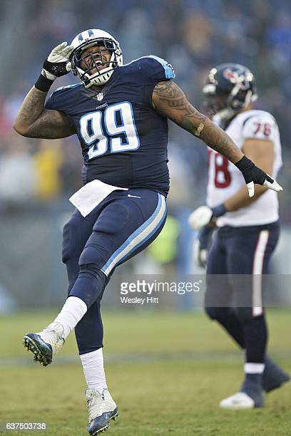 Jurrell Casey of the Tennessee Titans celebrates after sacking Brock Osweiler of the Houston Texans at Nissan Stadium on January 1 2017 in Nashville...