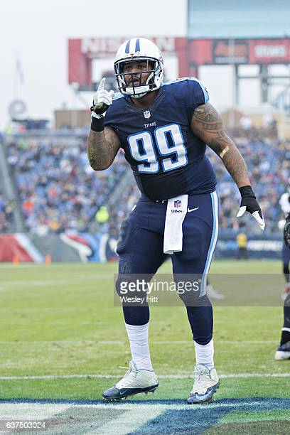 Jurrell Casey of the Tennessee Titans celebrates after sacking the quarterback during a game against the Houston Texans at Nissan Stadium on January...