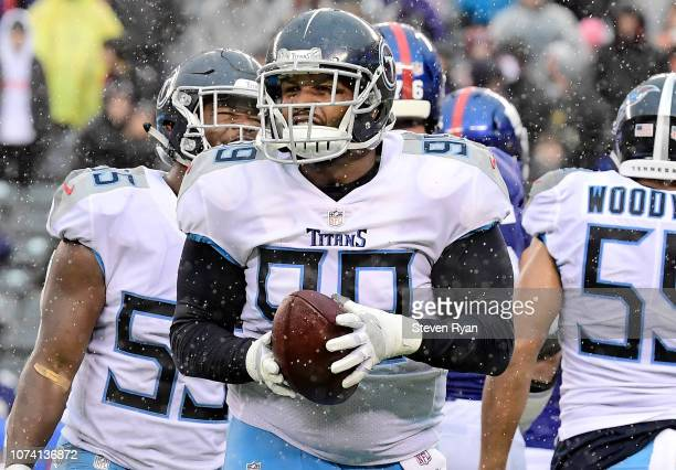 Jurrell Casey of the Tennessee Titans celebrates his second half fumble recovery against the New York Giants at MetLife Stadium on December 16, 2018...