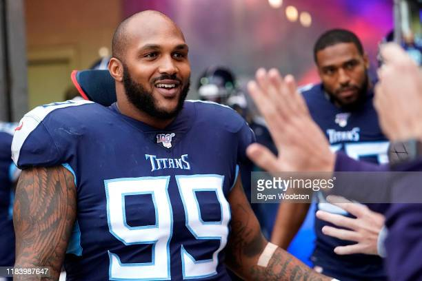 Jurrell Casey of the Tennessee Titans greets fans before the NFL football game against the Tampa Bay Buccaneers at Nissan Stadium on October 27 2019...