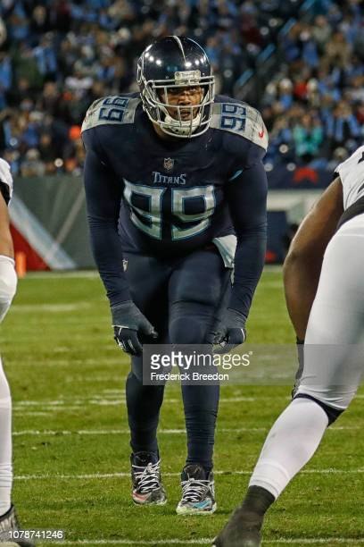 Jurrell Casey of the Tennessee Titans lines up against the Jacksonville Jaguars at Nissan Stadium on December 6, 2018 in Nashville, Tennessee.