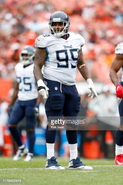 Jurrell Casey of the Tennessee Titans lines up for a play during the game against the Cleveland Browns at FirstEnergy Stadium on September 8, 2019 in...