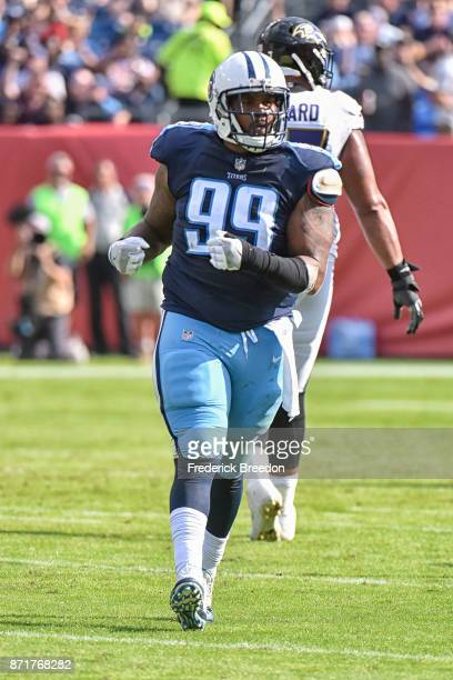 Jurrell Casey of the Tennessee Titans plays against the Baltimore Ravens at Nissan Stadium on November 5 2017 in Nashville Tennessee