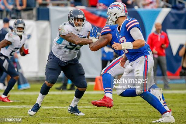 Jurrell Casey of the Tennessee Titans plays against the Buffalo Bills at Nissan Stadium on October 06, 2019 in Nashville, Tennessee.