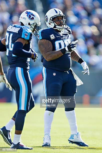 Jurrell Casey of the Tennessee Titans points over to the offense during a game against the Carolina Panthers at Nissan Stadium on November 15 2015 in...