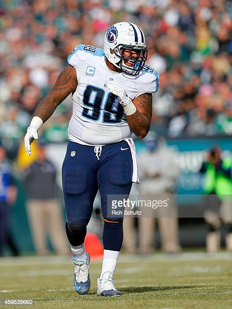 Jurrell Casey of the Tennessee Titans reacts after sacking quarterback Mark Sanchez of the Philadelphia Eagles in the first quarter during a football...