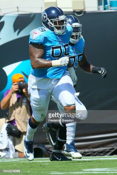 Jurrell Casey of the Tennessee Titans runs off the field during a game against the Jacksonville Jaguars at TIAA Bank Field on September 23 2018 in...