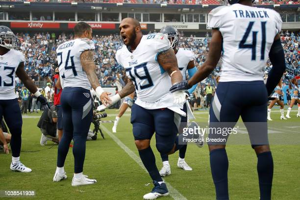 Jurrell Casey of the Tennessee Titans runs onto the field prior to a game against the Houston Texans at Nissan Stadium on September 16 2018 in...