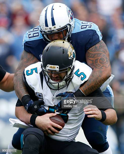 Jurrell Casey of the Tennessee Titans sacks Blake Bortles of the Jacksonville Jaguars during the game at Nissan Stadium on December 6, 2015 in...