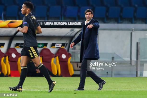 Jurrien Timber of Ajax and coach Paulo Fonseca of AS Roma during the UEFA Europa League Quarter Final: Leg Two match between AS Roma and Ajax at...