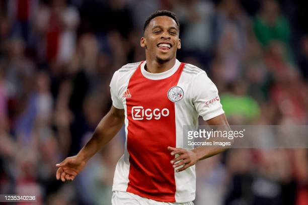 Jurrien Timber of Ajax celebrates 1-0 during the Dutch Eredivisie match between Ajax v SC Cambuur at the Johan Cruijff Arena on September 18, 2021 in...
