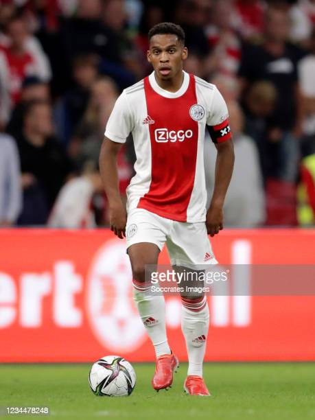 Jurrien Timber of Ajax during the Club Friendly match between Ajax v Leeds United at the Johan Cruijff Arena on August 4, 2021 in Amsterdam...