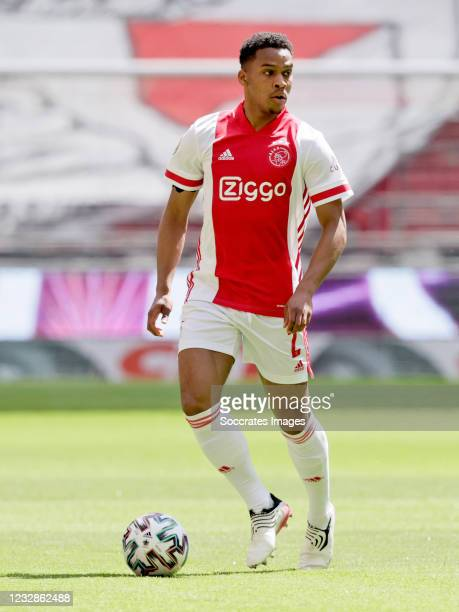 Jurrien Timber of Ajax during the Dutch Eredivisie match between Ajax v VVV-Venlo at the Johan Cruijff Arena on May 13, 2021 in Amsterdam Netherlands