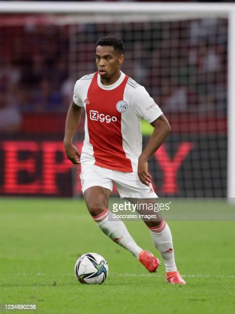 Jurrien Timber of Ajax during the Dutch Eredivisie match between Ajax v NEC Nijmegen at the Johan Cruijff Arena on August 14, 2021 in Amsterdam...