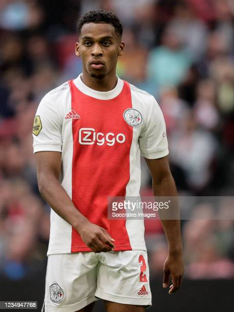 Jurrien Timber of Ajax during the Dutch Eredivisie match between Ajax v Vitesse at the Johan Cruijff Arena on August 29, 2021 in Amsterdam Netherlands
