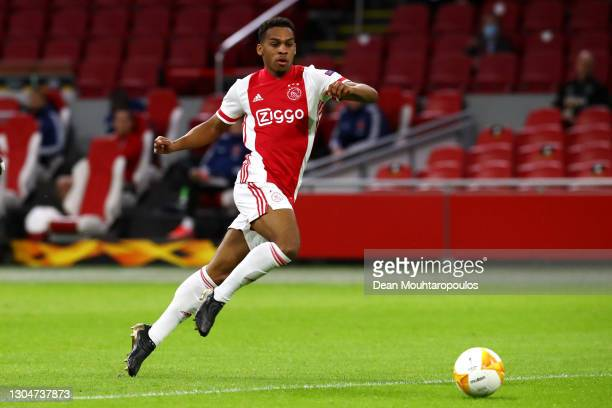 Jurrien Timber of Ajax in action during the UEFA Europa League Round of 32 match between AFC Ajax and Lille OSC at Johan Cruyff Arena on February 25,...