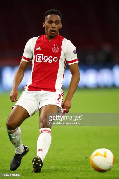 Jurrien Timber of Ajax in action during the UEFA Europa League Round of 16 First Leg match between Ajax and BSC Young Boys at Johan Cruijff Arena on...