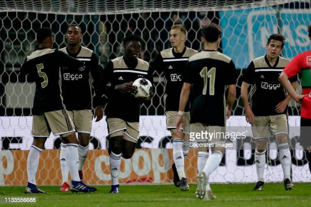 Jurrien Timber of Ajax U23, Ryan Gravenberch of Ajax U23, Lassina Traore of Ajax U23, Vaclav Cerny of Ajax U23, Victor Jensen of Ajax U23 celebrates...